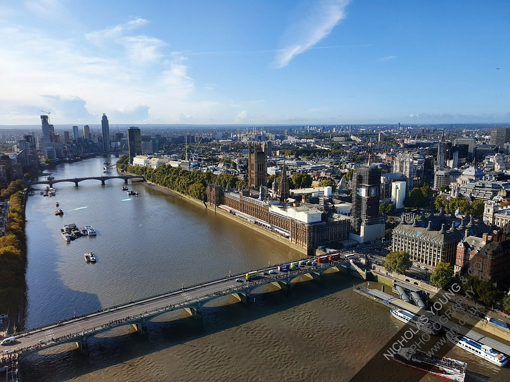 Aerial view of London skyline, Westminster